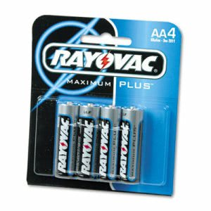 Rayovac Alkaline Batteries, AA, 4/Pack (RAY8154E)