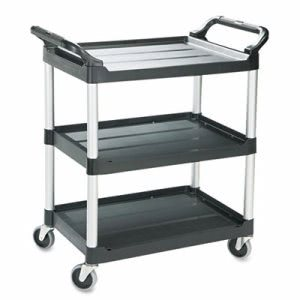Rubbermaid 3424 Plastic Utility Cart with 3 Shelves, Black (RCP 3424-88 BLA)