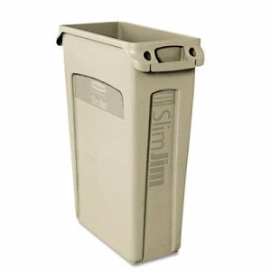 Rubbermaid 3540-60 Slim Jim 23 Gallon Trash Can w/Vents, Beige (RCP 3540-60 BEI)