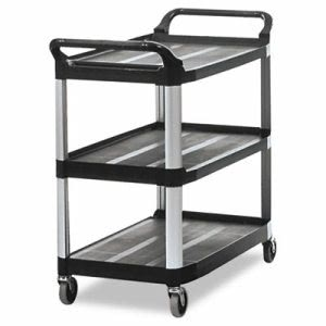 Rubbermaid Xtra Open Sided Utility Cart w/3 Shelves, Black (RCP 4091 BLA)