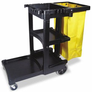 Rubbermaid 6173-88 Janitor Cleaning Cart w/Vinyl Bag, Black (RCP 6173-88 BLA)