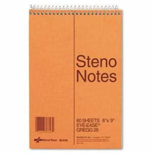 National Brand Standard Steno Book, Gregg Rule, Green, 60 Sheets (RED36646)