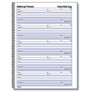 Rediform Voice Mail Wirebound Log Books, 8 x 10 5/8, 500 Sets/Book (RED51114)