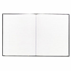Blueline Large Executive Notebook w/Cover, College/Margin, Letter, Black Cover, 75 Sheet (REDA1081)