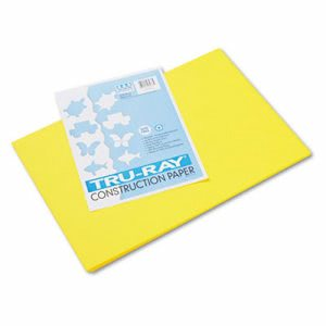 Pacon Tru-Ray Construction Paper, 12 x 18, Yellow, 50 Sheets (PAC103036)