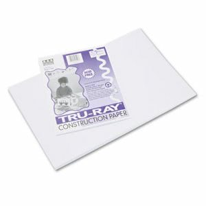 Pacon Tru-Ray Construction Paper, 76 lbs., 12 x 18, White, 50 Sheets (PAC103058)