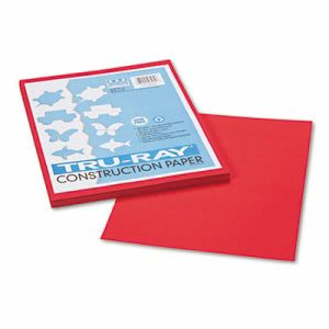 Pacon Construction Paper, 76 lbs., 9 x 12, Festive Red, 50 Sheets (PAC103431)