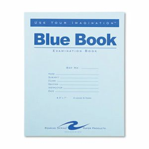 Roaring Spring Wide Rule Blue Exam Book, 8-1/2 x 7, 8 Pages (ROA77510)