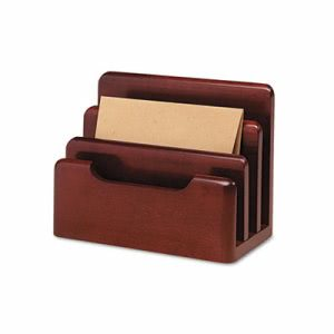 Rolodex Wood Tones Desktop Sorter, Three Sections, Wood, Mahogany (ROL23420)