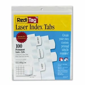 Redi-Tag Laser Printable Index Tabs, 1 1/8 Inch, White, 100/Pack (RTG33117)