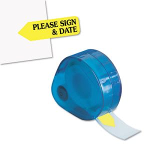 "Redi-tag Flags in Dispenser, ""Please Sign & Date"", Yellow, 120 Flags (RTG81124)"