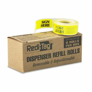 "Redi-Tag Right Arrow Flag, ""Sign Here"", Yellow, 6 Rolls of 120 Flags (RTG91001)"