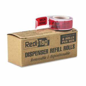 "Redi-tag Message Right Arrow Flag Refills, ""Sign Here"", Red, 6 Rolls of 120 Flags/Box (RTG91002)"