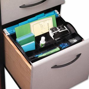 Rubbermaid Hanging Desk Drawer Organizer, Plastic, Black (RUB11916ROS)
