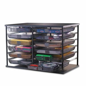 Rubbermaid 12-Compartment Organizer with Mesh Drawers, Black (RUB1735746)