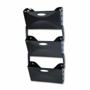 Rubbermaid Ultra Hot File Three Pocket Wall File Set, Letter, Black (RUB18523)