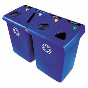 Rubbermaid Glutton 4-Stream 92 Gallon Recycling Station, Blue, Each (RCP1792372)