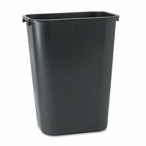 Rubbermaid 2957 Deskside 10 1/4 Gallon Plastic Wastebasket, Black (RCP 2957 BLA)