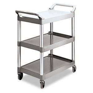 Rubbermaid 3-Shelf Utility Cart, Platinum, 1 Each (RCP 3424-88 PLA)