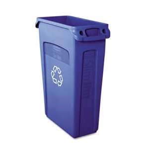 Rubbermaid 354007 Slim Jim 23 Gallon Recycling Can w/Vents, Blue (RCP354007BE)