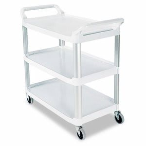 Rubbermaid 4091 Open Sided 3-Shelf Utility Cart, Off-White (RCP 4091 CRE)