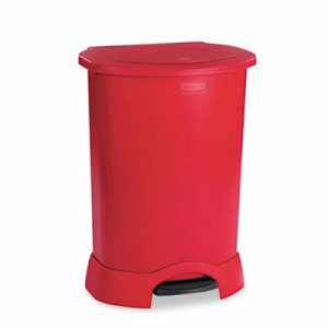 Rubbermaid Step-On Container, Oval, Polyethylene, 30 gallon, Red (RCP614700RD)