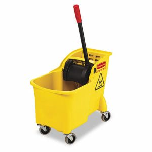 Rubbermaid Commercial Tandem 31-Qt Bucket/Wringer Combo, Yellow (RCP738000YEL)