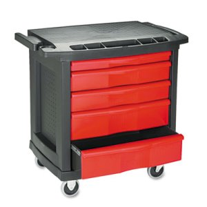 Rubbermaid 773488 Five-Drawer Mobile Work Center, Black/Red (RCP773488)