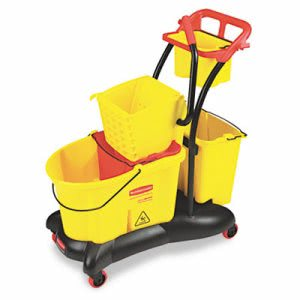 Rubbermaid 7780 WaveBrake Mopping Trolley with Side Press Wringer (RCP 7780 YEL)