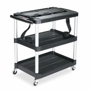 Rubbermaid MediaMaster 3-Shelf AV Cart, Black, 1 Each (RCP9T28)