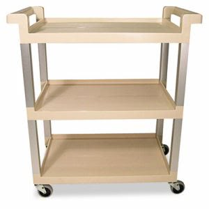 Rubbermaid 9T65 3 Shelf Cart with Aluminum Uprights, Beige (RCP 9T65-71 BEI)