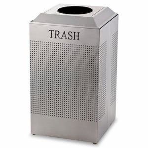 Rubbermaid DCR24T Silhouette 29 Gallon Waste Receptacle, Silver (RCP DCR24TSM)