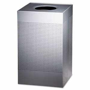 Rubbermaid SC18EPLSM 29 Gallon Open Top Steel Receptacle, Silver (RCP SC18EPLSM)