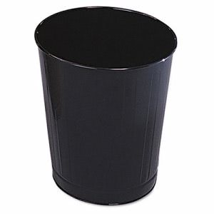 Rubbermaid Fire-Safe Wastebasket, Round, Steel, 6.5 gal, Black (RCPWB26BK)