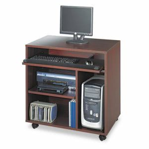 Safco Ready-to-Use PC Workstation, Mahogany Laminate Top (SAF1901MH)