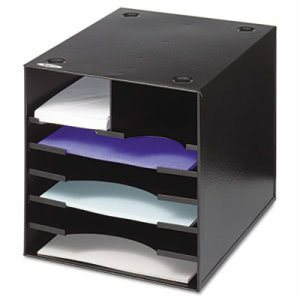 Safco Steel Desktop Sorter, 7 Compartments, 12 x 12 x 11, Black (SAF3111BL)