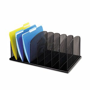 Safco Mesh Desk Organizer, Eight Sections, Steel, Black (SAF3253BL)