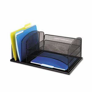 Safco Desk Organizer, 6 Sections, Steel Mesh, Black (SAF3254BL)