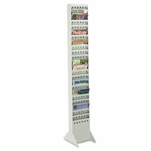 Safco Steel Magazine Rack, 23 Compartments, 10w x 4d x 65-1/2h, Gray (SAF4322GR)