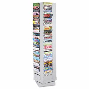 Safco Steel Rotary Magazine Rack, 92 Compartments, Gray (SAF4325GR)