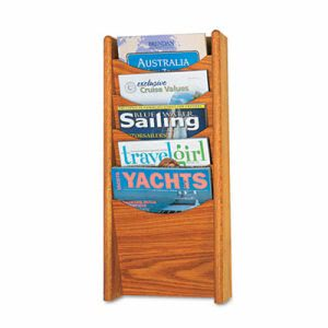 Safco Solid Wood Wall-Mount Literature Display Rack, Medium Oak (SAF4330MO)