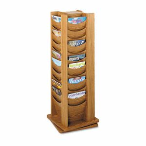 Safco Rotary Display, 48 Compartments, 17-3/4w x 17-3/4d x 49-1/2h, Medium Oak (SAF4335MO)