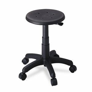 Safco Office Stool with Casters, Seat: 14in dia. x 16-21, Black (SAF5100)