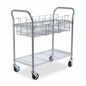 Safco Wire Mail Cart, 600lbs, 18-3/4w x 39d x 38-1/2h, Metallic Gray (SAF5236GR)