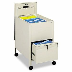 Safco Locking Mobile Tub File With Drawer, Letter Size, 17w x 26d x 28h, Putty (SAF5364PT)