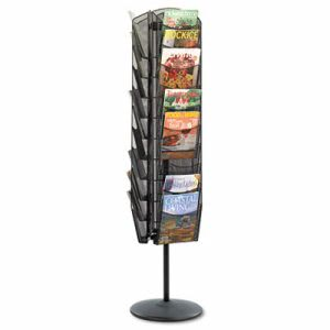 Safco Mesh Rotating Magazine Display, 30 Compartments, Black (SAF5577BL)