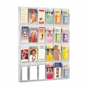 Safco Clear Literature Displays, 24 Compartments, 30w x 2d x 41h (SAF5601CL)