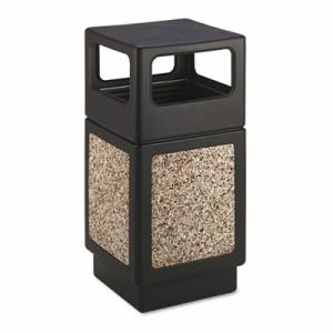 Safco Canmeleon 38 Gallon Receptacle, Square, Polyethylene, Black (SAF9472NC)