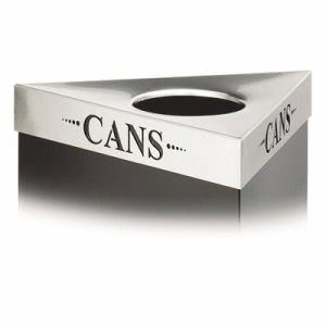 "Safco Waste Receptacle Lid, Laser Cut ""CANS"" Inscription, Stainless (SAF9560CZ)"