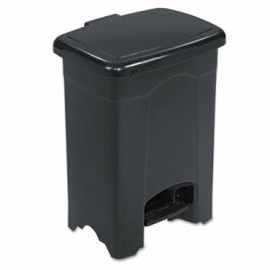 Safco Step-On Receptacle, Rectangular, Plastic, 4 gal, Black (SAF9710BL)